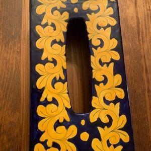 Navy Blue and gold Talavera  tissue box  holder
